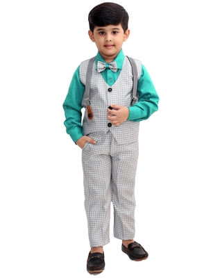 Green plain cotton silk boys-suit