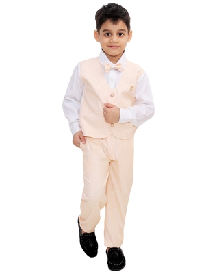 Fawn plain cotton silk boys-suit