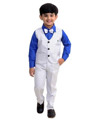 Blue plain cotton silk boys-suit