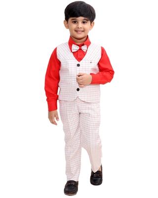 Red plain cotton silk boys-suit