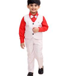 Red plain cotton silk boys-suit