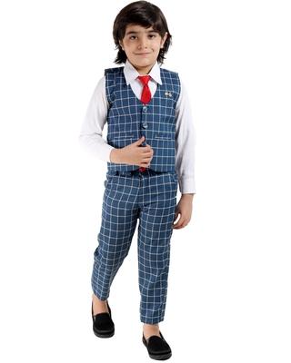 Green plain cotton silk boys-suit