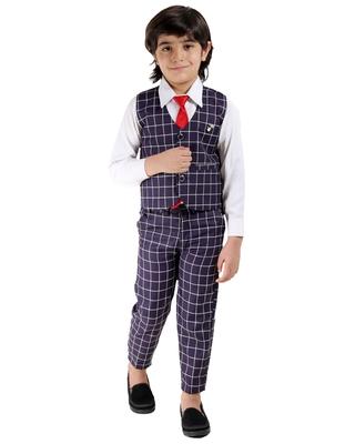 Purple plain cotton silk boys-suit