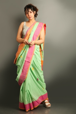 Emerald woven cotton saree with blouse