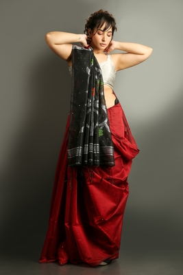 Dark red woven blended cotton saree with blouse