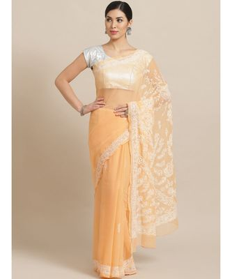 Ada Hand Embroidered Peach Faux Georgette Lucknowi Chikan Saree With Blouse