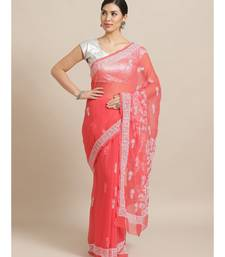Ada Hand Embroidered Carrot Pink Faux Georgette Lucknow Chikan Saree With Blouse