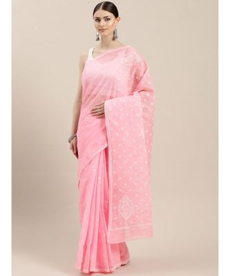 Ada Hand Embroidered Pink Cotton Lucknow Chikan Saree With Blouse