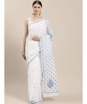 Ada Hand Embroidered White Cotton Lucknow Chikan Saree with Blouse