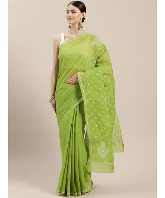 Ada Hand Embroidered Green Cotton Lucknow Chikan Saree With Blouse