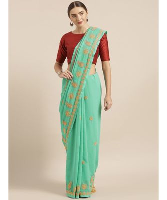 Ada Hand Embroidered Sea Green Faux Georgette Lucknow Chikan Saree With Blouse