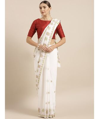 Ada Hand Embroidered White Faux Georgette Lucknow Chikan Saree With Blouse