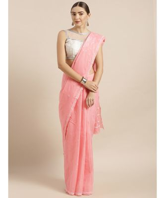 Ada Hand Embroidered Carrot Pink Cotton Lucknow Chikan Saree With Blouse