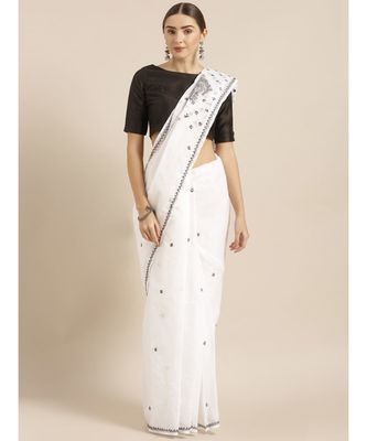 Ada Hand Embroidered Lucknow Chikan White Cotton Saree with Blouse
