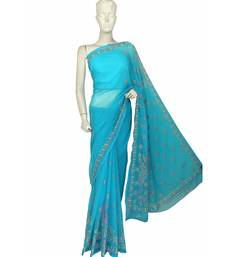 Ada Hand Embroidered Blue Faux Georgette Lucknow Chikan Saree With Blouse