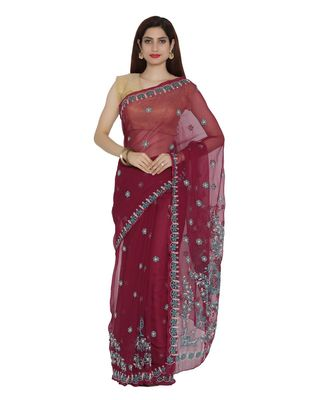 Ada Hand Embroidered Lucknow Chikan Maroon Faux Georgette Saree with Blouse