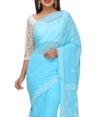 Ada Hand Embroidered Lucknow Chikan Blue Faux Georgette Saree with Blouse