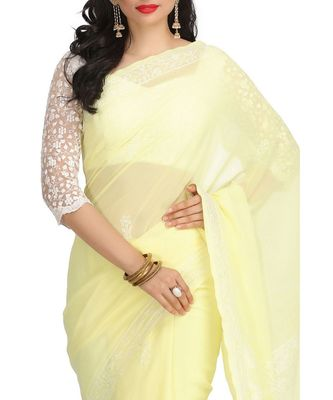 Ada Hand Embroidered Lemon Faux Georgette Lucknow Chikan Saree With Blouse