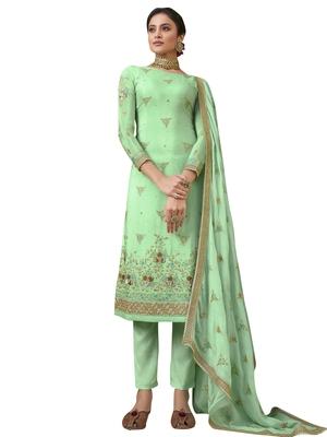 Green embroidered pure chiffon salwar