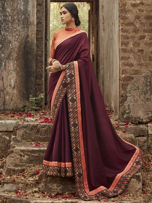 Raspberry embroidered dupion silk saree with blouse