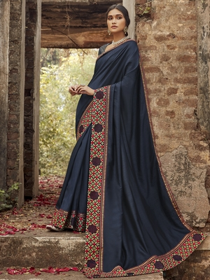 Navy blue embroidered dupion silk saree with blouse