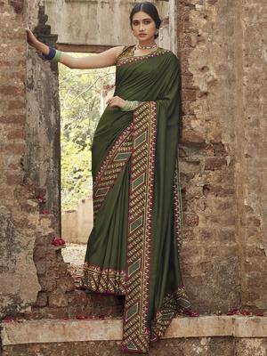 Mehendi embroidered dupion silk saree with blouse