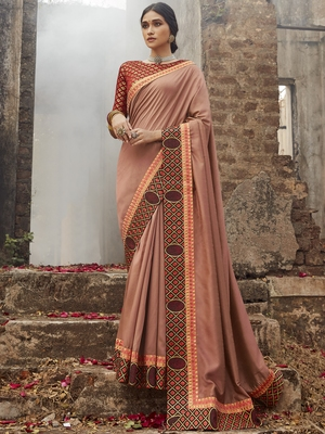 Peach embroidered dupion silk saree with blouse
