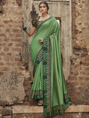 Light green embroidered dupion silk saree with blouse
