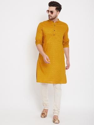 Yellow woven pure cotton men-kurtas