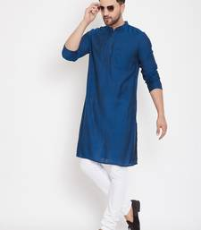 Blue plain viscose rayon men-kurtas
