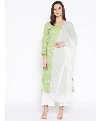 Ada Hand Embroidered White Chiffon Lucknowi Chikankari Dupatta