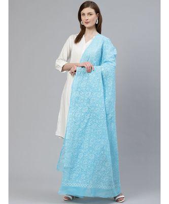 Ada Hand Embroidered Blue Kota Lucknowi Chikankari Dupatta