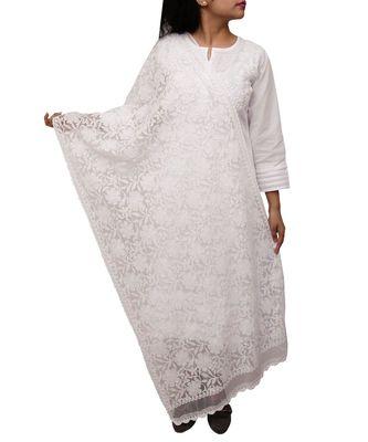 Ada Hand Embroidered White Net Lucknowi Chikankari Dupatta