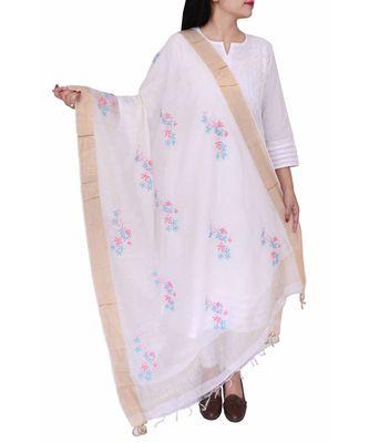 Ada Hand Embroidered White Chanderi Lucknowi Chikankari Dupatta