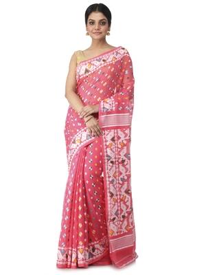pink hand woven cotton jamdani sarees