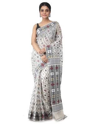 white hand woven cotton jamdani sarees