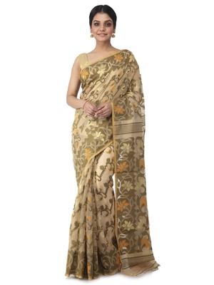 beige hand woven cotton jamdani sarees