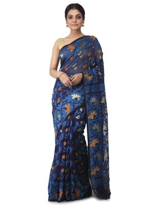 blue hand woven cotton jamdani sarees