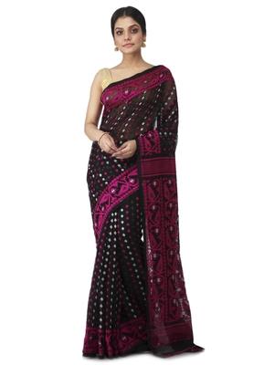 black hand woven cotton jamdani sarees