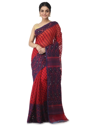 red hand woven cotton jamdani sarees