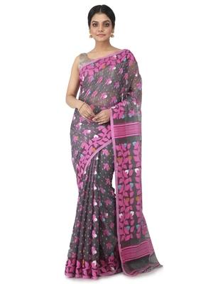 grey hand woven cotton jamdani sarees