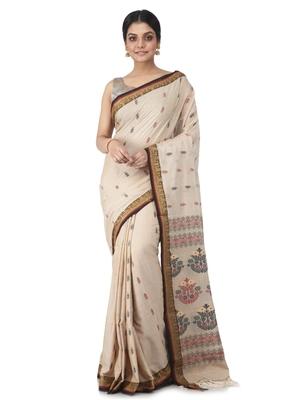beige hand woven pure cotton handloom sarees