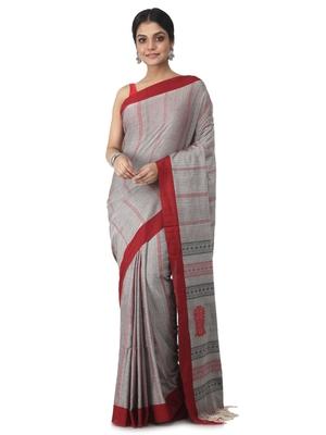 grey hand woven pure cotton handloom sarees