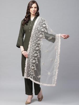 Sutram Net Lakhnavi Grey Embroidery Dupatta
