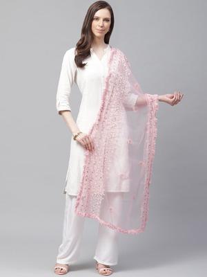 Sutram Net Lakhnavi Pink Embroidery Dupatta