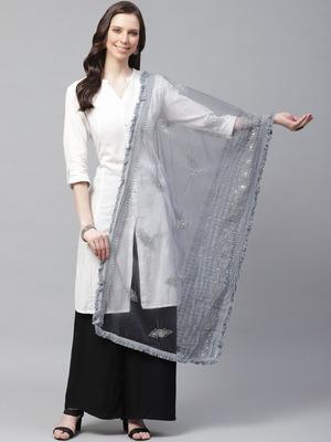 Sutram Net Lakhnavi Dark Grey Embroidery Dupatta
