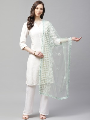 Sutram Net Lakhnavi Sea Green Embroidery Dupatta