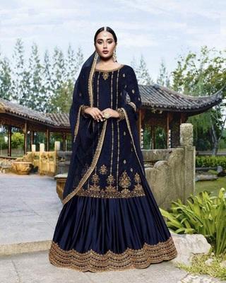 Dark-blue embroidered velvet salwar