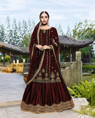 Dark-maroon embroidered velvet salwar