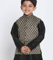 Black Printed Blended Cotton Boys-Nehru-Jacket